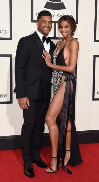 Russell Wilson and Ciara on the Grammys red carpet in Los Angeles on Feb. 15, 2016VALERIE MACON/AFP/Getty Images
