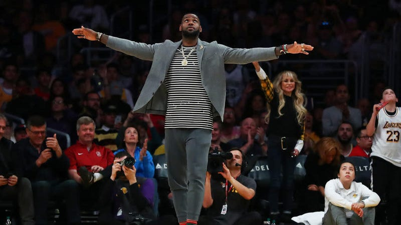 LeBron James of the Los Angeles Lakers celebrates after a play against the Utah Jazz during the second half of a game in Los Angeles April 7, 2019.