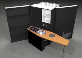 Illustration for article titled Woon Box: A Toilet, Shower and Kitchen All-in-One