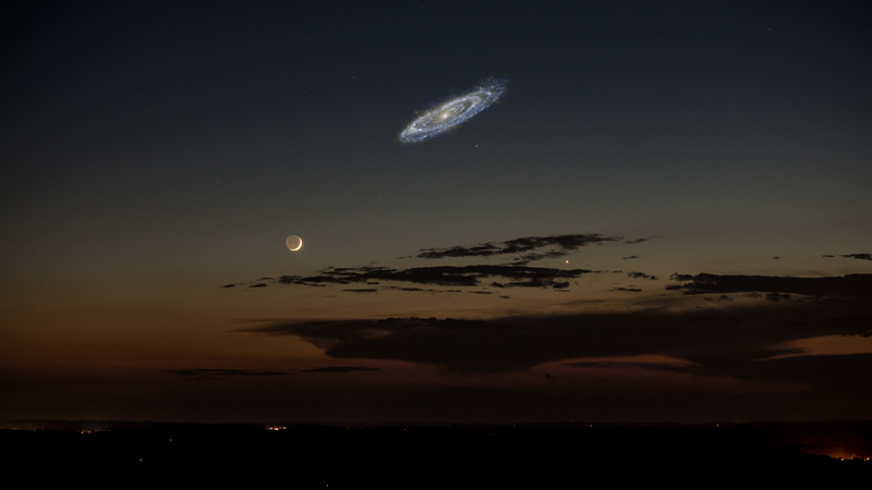 This is what the Andromeda Galaxy would look like in the night sky if it were bright enough to be seen with the naked eye. (Photo credit: Tom Buckley-Houston & Stephen Rahn.)