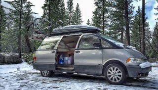 Illustration for article titled For $7,500, This 1995 Toyota Previa Might Make You A Happy Camper