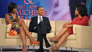 President Barack Obama and first lady Michelle Obama with Oprah Winfrey on her show in 2011.MANDEL NGAN/AFP/Getty Images