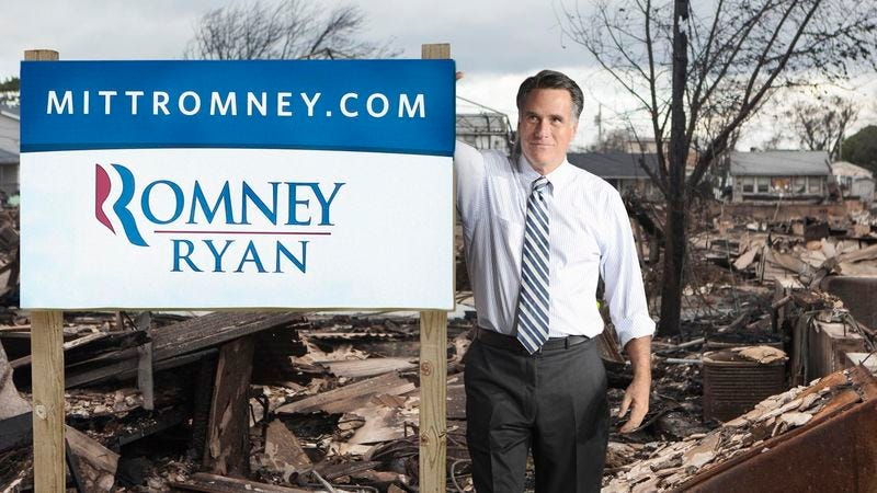 Illustration for article titled Romney Pitches In To Repair Thousands Of Downed Romney-Ryan Lawn Signs