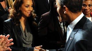 President Barack Obama greets singer Alicia Keys on Dec. 1, 2011, in Washington, D.C.Roger L. Wollenberg-Pool/Getty Images