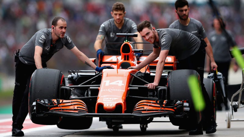 The McLaren-Honda team that was supposed to do a tire test this week in Brazil. Photo credit: Dan Istitene/Getty Images