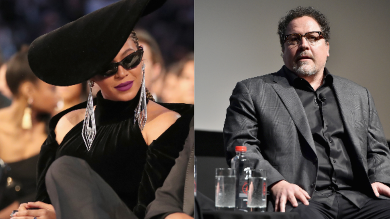 (L-R): Recording artist Beyonce attends the 60th Annual GRAMMY Awards on January 28, 2018 in New York City.Jon Favreau speaks onstage at Tribeca Talks: Jon Favreau with Scarlett Johansson during 2017 Tribeca Film Festival on April 21, 2017 in New York City.