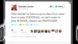 """Illustration for article titled It Looks Like Cardale """"Ain't Come To Play SCHOOL!"""" Jones Has Changed His Ways"""