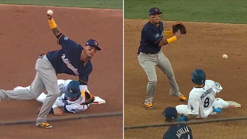 Illustration for article titled Manny Machado Had Some Questionable Slides Against The Brewers