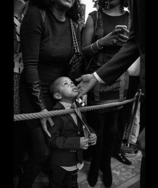 President Barack Obama and a kid during Thursday's Black History Month celebration at the White HousePete Souza/White House