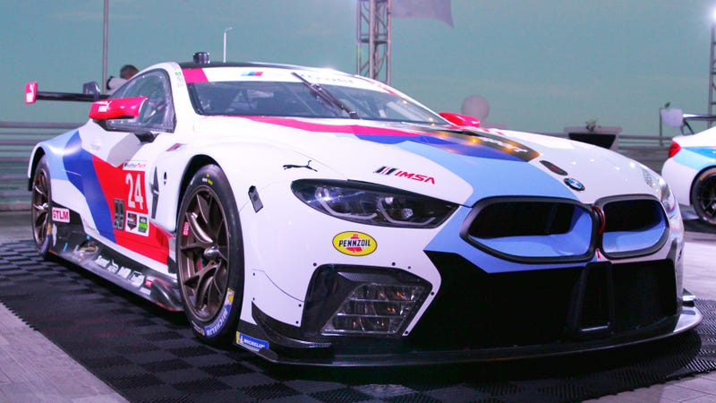 The new BMW M8 in its livery for the weekend. Photo credit: Stef Schrader/Jalopnik