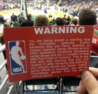Illustration for article titled The NBA Is Apparently Handing Out Red Warning Cards To Unruly Fans