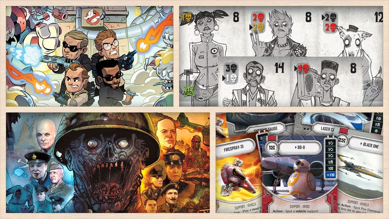 Clockwise from left: Men in Black/Ghostbusters, Dead Man's Cabal, Star Wars: Destiny, Axis & Allies & Zombies.