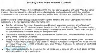 """Illustration for article titled Best Buy: Windows 7 Isn't Just """"Vista That Works"""" (Also: Free Upgrades)"""