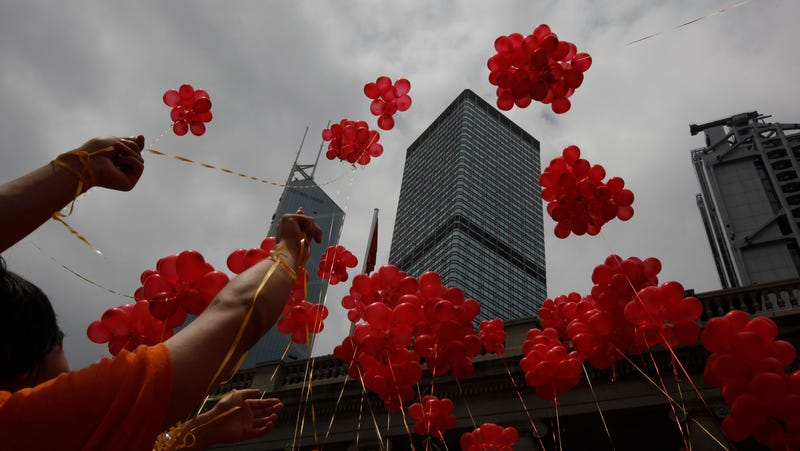 A balloon release in Hong Kong in 2011.
