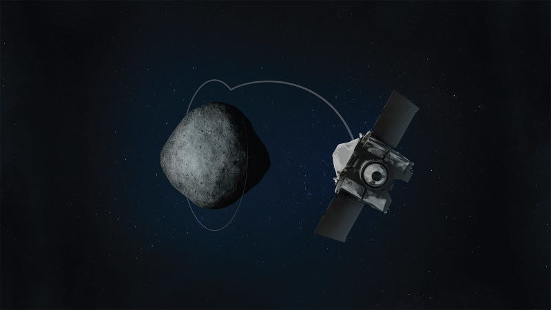 Artist's concept of OSIRIS-REx arriving at Bennu