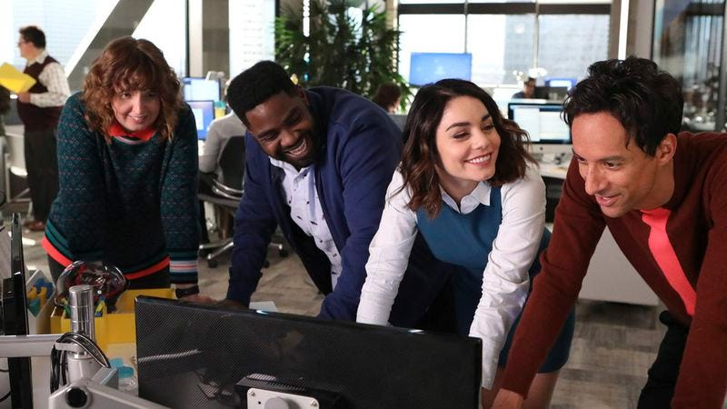 Jennie Pierson, Ron Funches, Vanessa Hudgens, and Danny Pudi star in Powerless (Photo: Evans Vestal Ward/Warner Bros/NBC)