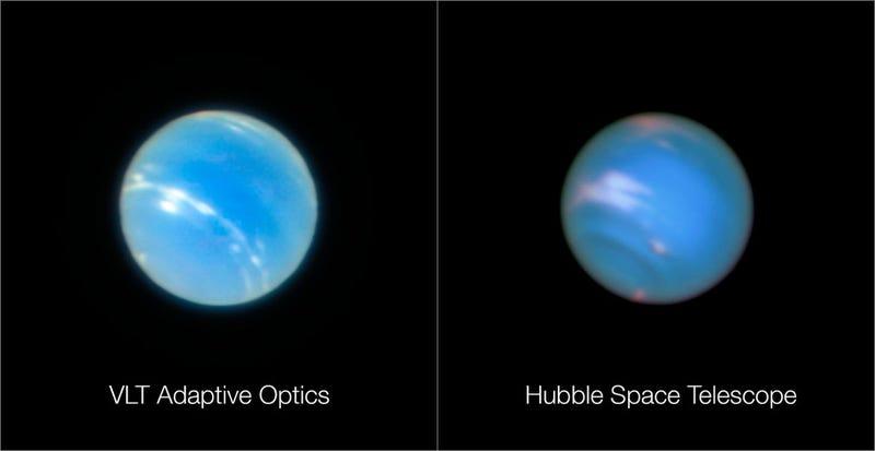 A la izquierda, una imagen de Neptuno tomada por el Very Large Telescope (ESO) desde Chile. A la derecha, el planeta captado por el telescopio espacial Hubble (NASA) desde la órbita terrestre.