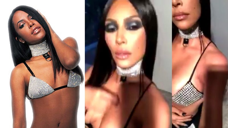 "Aaliyah (""Try Again"" screenshot via YouTube); Kim Kardashian West (@KimKardashian via Twitter)"