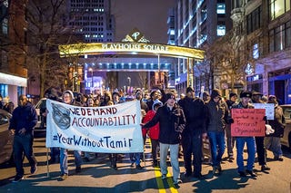 A group of protesters march in Cleveland Dec. 29, 2015, after a grand jury declined to indict Cleveland Police Officer Timothy Loehmann for the fatal shooting of 12-year-old Tamir Rice. (Angelo Merendino/Getty Images)