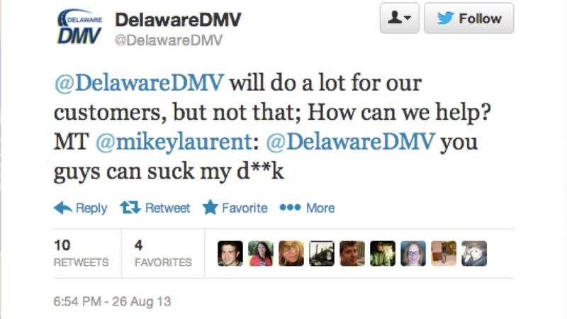 Illustration for article titled Delaware DMV Tweets That They Will Not Suck Dicks