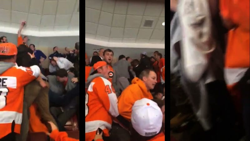 Illustration for article titled Fans Brawl In The Stands During Tonight's Rangers-Flyers Game