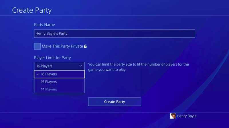 The new 16-person party option being tested for PS4.