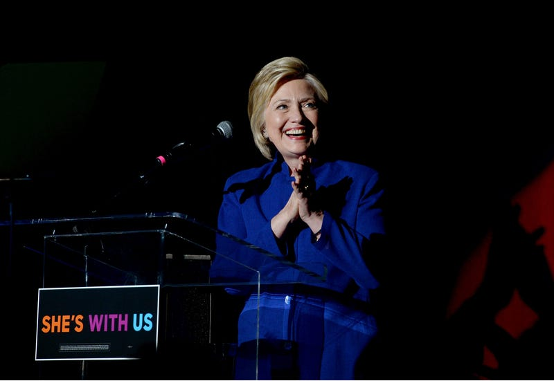 """Democratic presidential candidate Hillary Clinton speaks onstage during the """"Hillary Clinton: She's With Us"""" concert at the Greek Theatre on June 6, 2016, in Los Angeles.Kevin Winter/Getty Images"""
