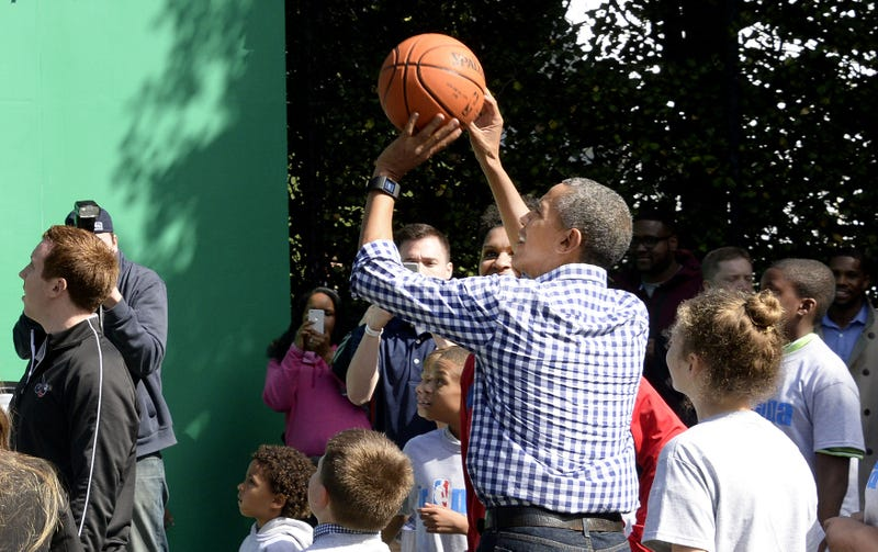 President Barack Obama plays basketball during the annual White House Easter Egg Roll on the South Lawn of the White House March 28, 2016, in Washington, D.C.Olivier Douliery-Pool/Getty Images