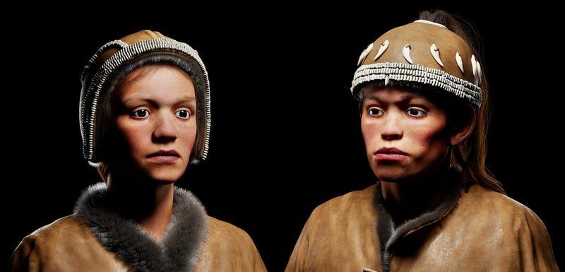 Illustration for article titled Este es el aspecto real que tenían dos adolescentes que vivieron hace 30.000 años, cuando aún había mamuts