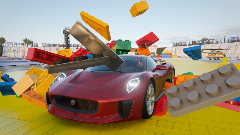 Illustration for article titled Forza Horizon 4's Lego Expansion Is Gleefully Absurd