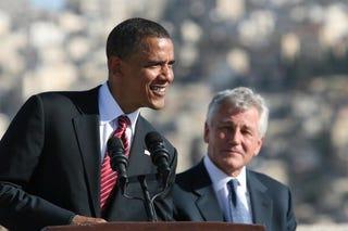 President Obama and former Sen. Chuck Hagel (Salah Malkawl/Getty Images)