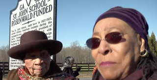 Alberta Brasfield (right) with her best friend, Bernice Mitchell, at the dedication of the historic marker at the St. John School in Albemarle County, Va.Screenshot