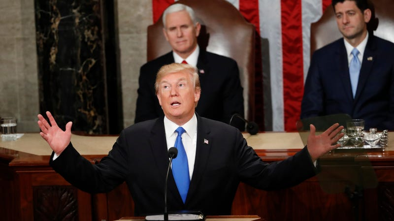 Donald Trump delivering the annual State of the Union speech in Washington, DC on January 30th, 2018.