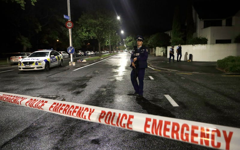 The police cordon outside the Al Noor Mosque in Christchurch.