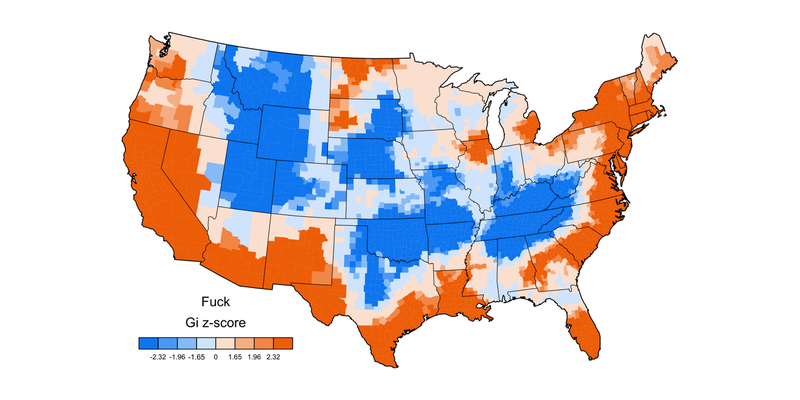 Illustration for article titled How People Swear Across the U.S., Mapped