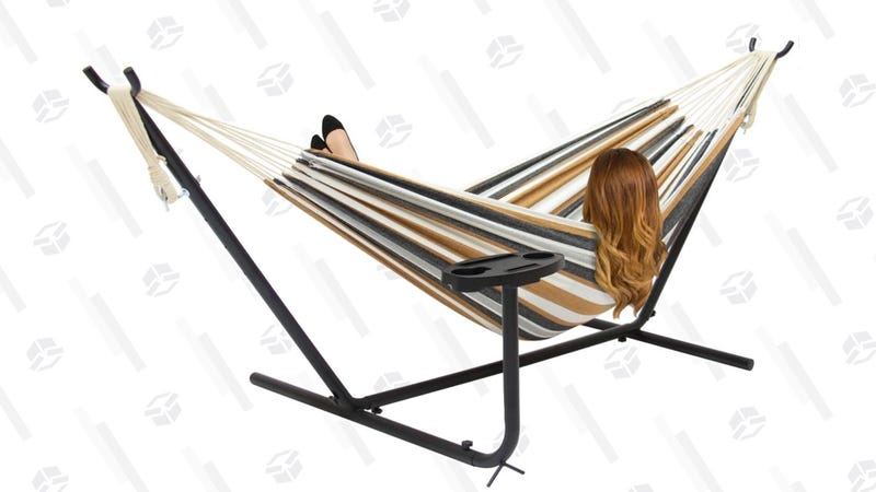 Double Hammock Set w/ Steel Stand, Cup Holder, Carrying Bag | $55 | Best Choice Products