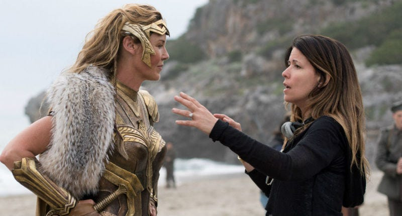 Patty Jenkins (right) an Codnnie Nielsen on the set of Wonder Woman. Image: Warner Bros.