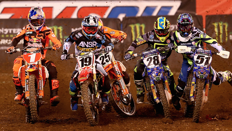 Monster Energy Supercross competition in East Rutherford, New Jersey in 2016. Photo credit: Elsa/Getty Images