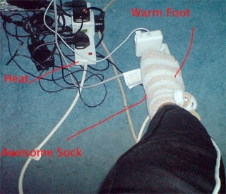 Illustration for article titled Foot Warmers Are Only a Power Source Away