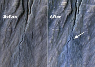 Illustration for article titled These Before-And-After Shots Confirm A New Gully Has Formed On Mars!
