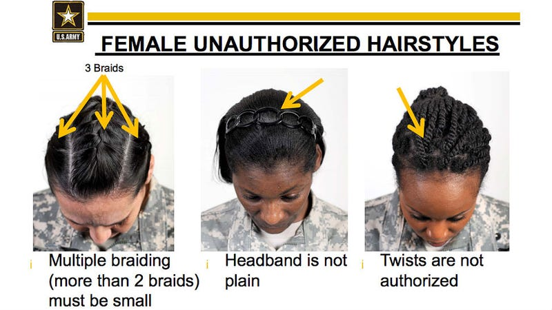 Illustration for article titled Army Bans Braids and Twists Because They Don't Understand Black Hair
