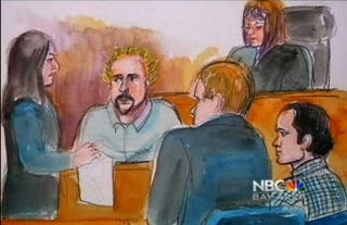 Illustration for article titled This Courtroom Sketch Of Guy Fieri Is Just Delightful