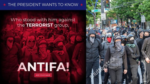 Trump Uses Stock Photo to Accuse Americans of Being Antifa  Terrorists  on Facebook