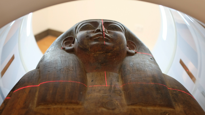 The Egyptian coffin inside a laser scanner.