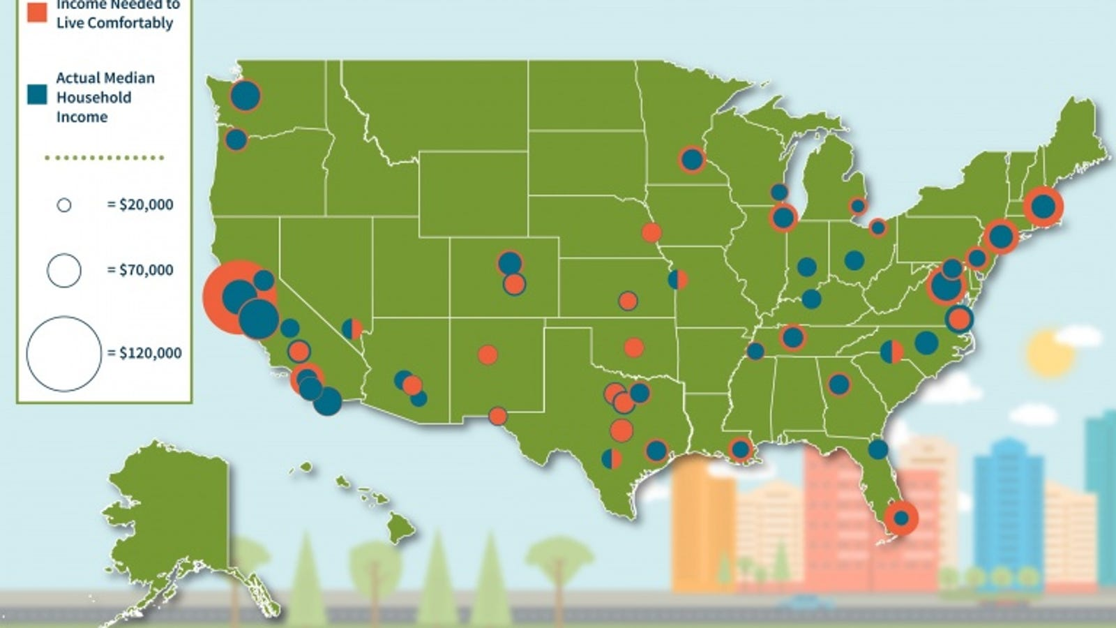 The Income You Need to Live Comfortably in 50 U S  Cities