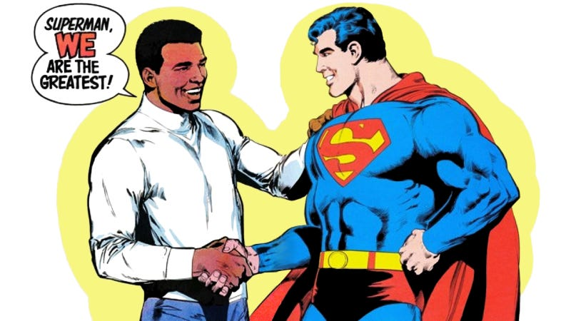 An image from when iconic boxer Muhammad Ali fought the Man of Steel in the comicsDC Comics