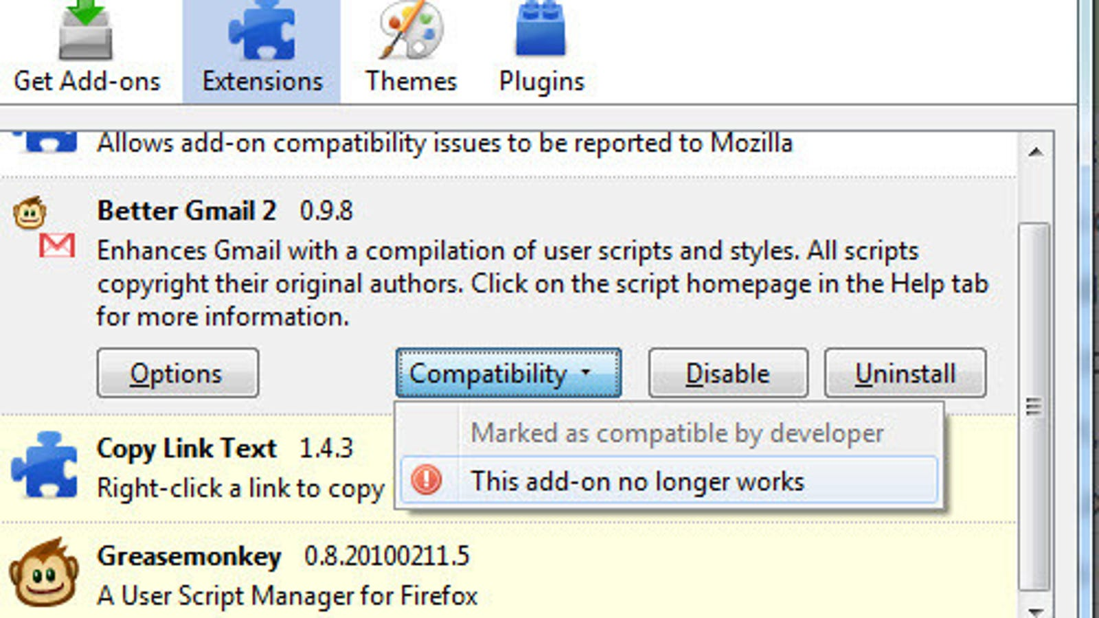 Add-On Compatibility Reporter Enables Incompatible Firefox