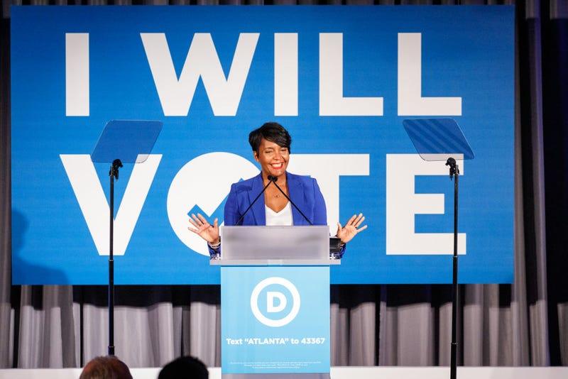 Atlanta Mayor Keisha Lance Bottoms speaks to a crowd at a Democratic National Committee event at Flourish on June 6, 2019 in Atlanta, Georgia.