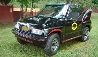 Illustration for article titled For $5,850, This 1991 Geo Tracker Is Your Caped Crusader