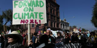Demonstrators march at the 'Forward on Climate' rally. (David McNew/Getty Images)